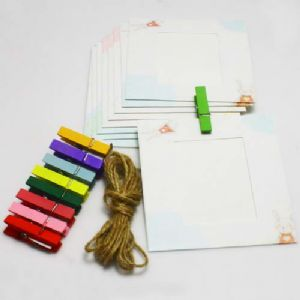 Picture frames Set of materials, Paper, white, 9.5cm x 9cm, 9 sheets, [ZPQ0010]